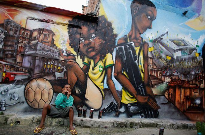 Dünya Kupası'na karşı sokak sanatı