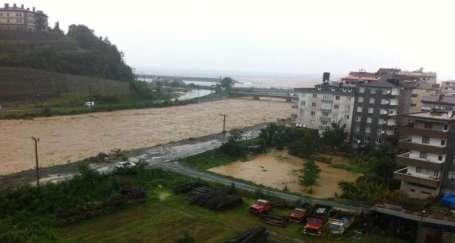 Arhavi'de yağmur dereleri coşturdu
