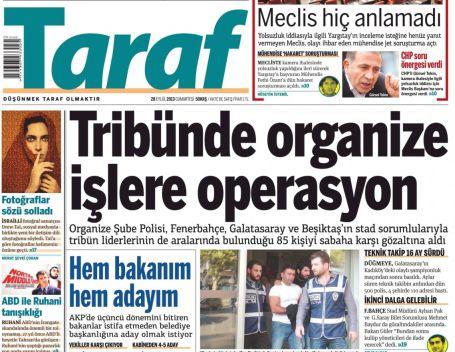 Taraftar operasyonu manşetlerde