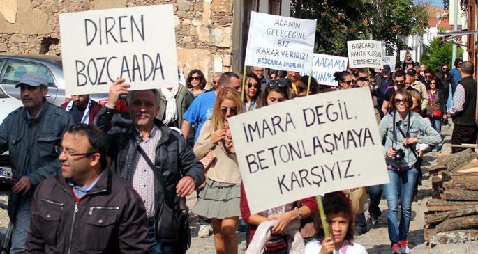 Bozcaadalılar çevre planını protesto için yürüdü