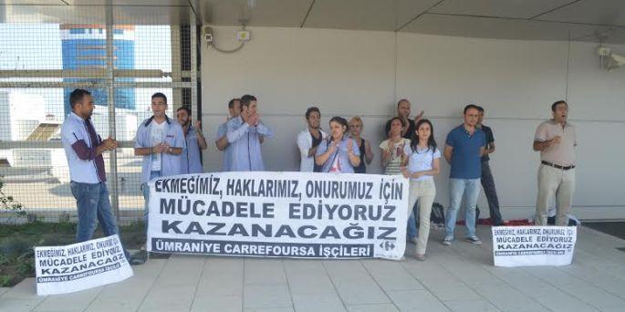 CarrefourSA işçisi hakkı için direniyor