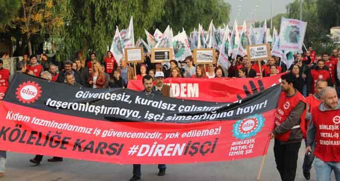 Çiğli'de işçiler kıdem tazminatı için yürüdü