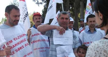 İzmir Basma işçileri çadır kurdu