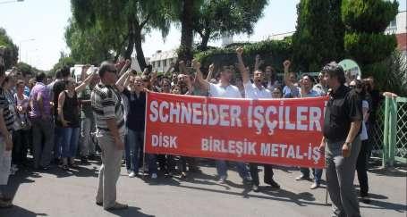 Schneider işçileri nöbette