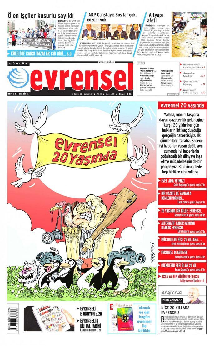 Emeğin gazetesi Evrensel'in 20. yılını kutluyoruz