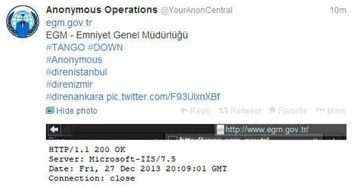 Anonymous, Emniyet Genel Müdürlüğü\