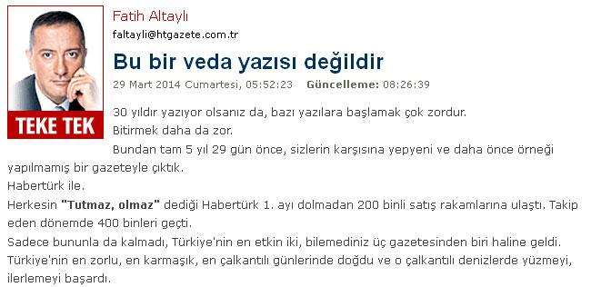Fatih Altaylı istifa etti