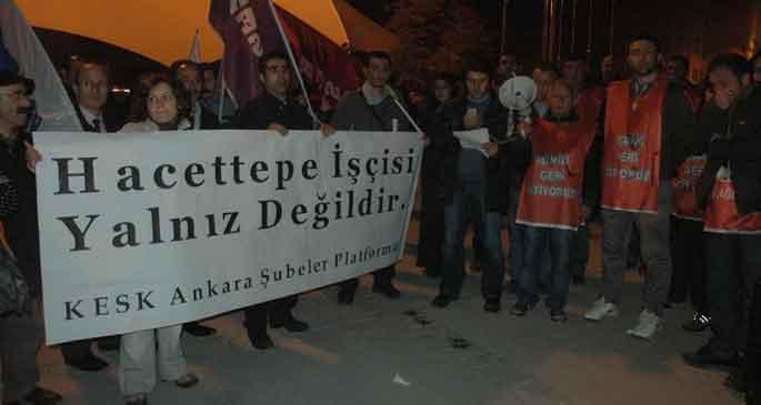 KESK, Hacettepe işçilerini ziyaret etti