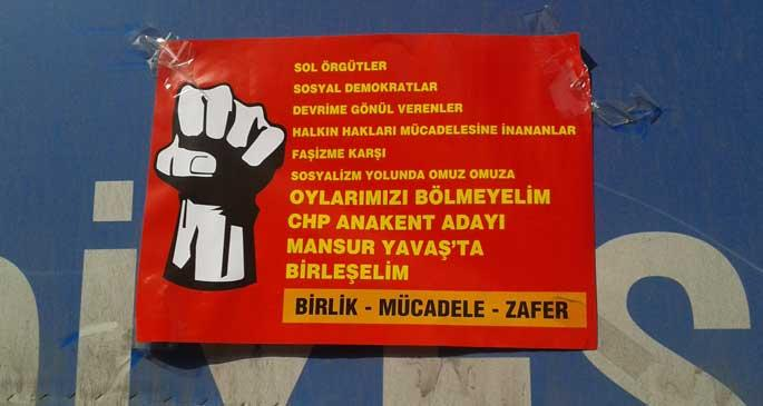 Mansur Yavaş'a destek afişi sahipsiz kaldı