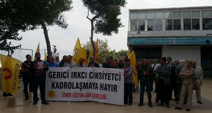 Müdür adayları mülakata alındı: İçeride mülakat dışarıda protesto