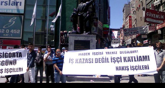 Nakış işçileri Soma maden katliamını protesto etti
