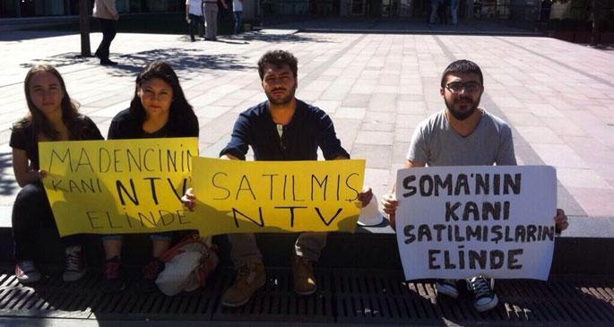 NTV önünde Soma protestosu