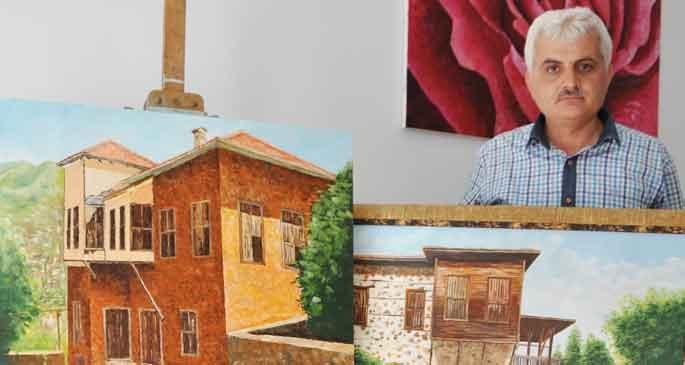 Tarihi evler tuvale yansıdı