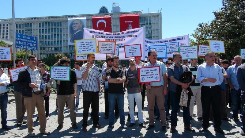 Taşeron işçilerinden İBB önünde protesto
