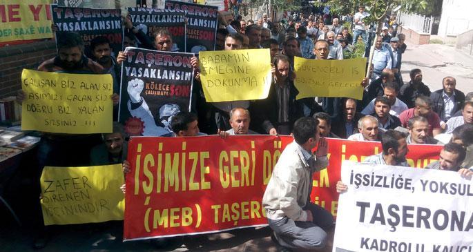 Van'da işçiler taşerona karşı yürüdü