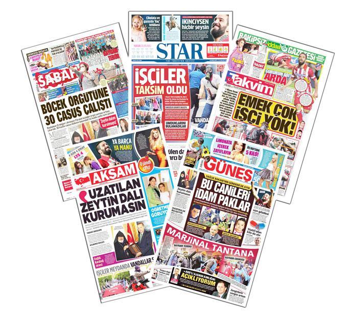 Yandaş medyada 1 Mayıs: Vandal terörist marjinal