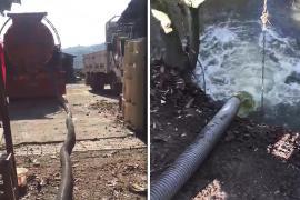Dilovası'da dereye fabrika atıklarının boşaltılması görüntülendi