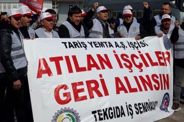 Bergama'da bulunan Tariş Yemta'da 7 işçi işten atıldı