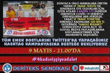 Deriteks İzmir Şubesi SF'den atılan kadın işçiler için kampanya başlatacak