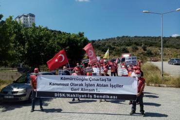 Çalışmaktan kaçınma hakkını kullandıkları için atılan işçiler eyleme başladı