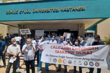 Dokuz Eylül Hastanesi sağlık emekçileri kınama cezalarına itiraz etti