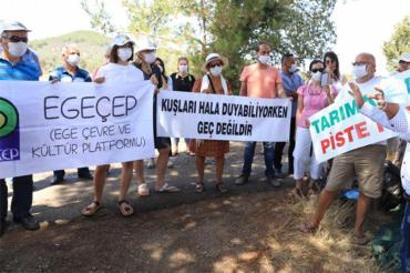 Yelki'de tarım alanına yapılmak istenen Go-Kart pistine karşı nöbet sürüyor