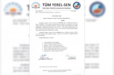 Tüm Yerel Sen İzmir 1 No'lu Şube yönetimi istifa ettiğini duyurdu