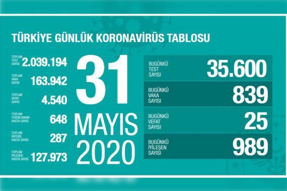 Türkiye'de Kovid-19'da nedeniyle son 24 saatte 25 kişi hayatını kaybetti