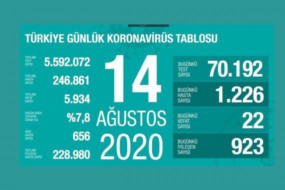 Türkiye'de 1226 kişiye daha Kovid-19 tanısı konuldu, ağır hasta sayısı 656'ya çıktı