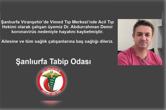 Acil Tıp Hekimi Dr. Abdurrahman Demir Kovid-19 sonucu hayatını kaybetti