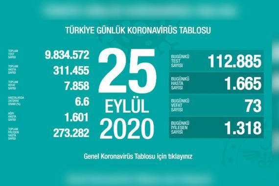 Türkiye'de son 24 saatte Kovid-19 nedeniyle 73 kişi hayatını kaybetti