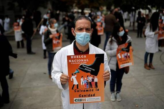 """İspanya'da doktorlar """"kaliteli sağlık"""" talebiyle greve gitti"""