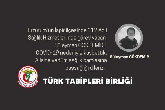 Erzurum'da bir sağlık çalışanı Kovid-19 nedeniyle yaşamını yitirdi