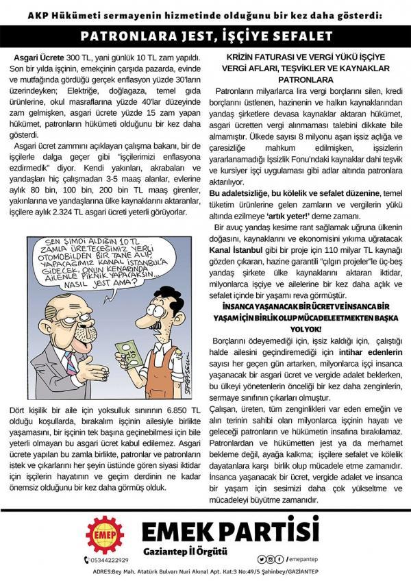 Emek Partisi Antep İlçe Örgütünün bildirisi