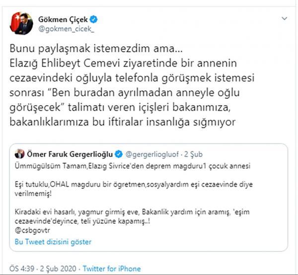 Gökmen Çiçek'in tweeti