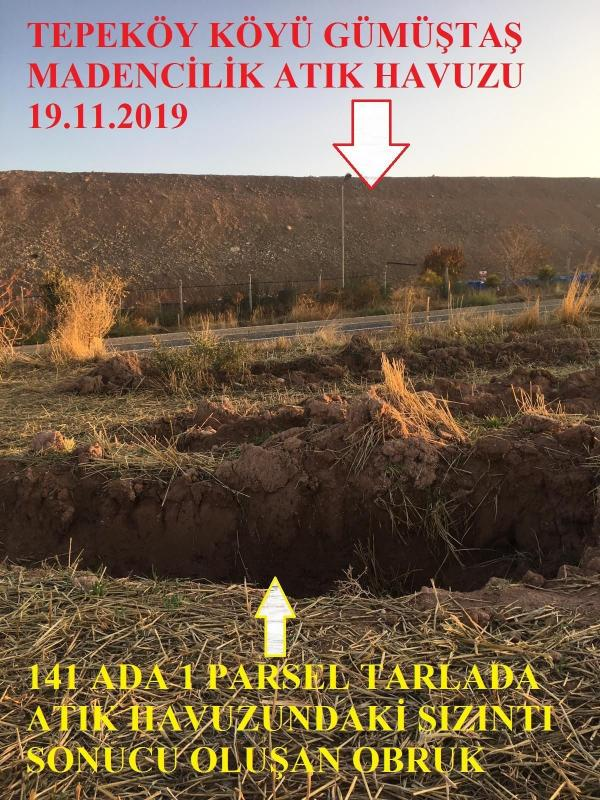 Tepeköy köyündeki altın madeninin atık havusunun bulunduğu yer ile sızıntının olduğu yeri gösteren görsel