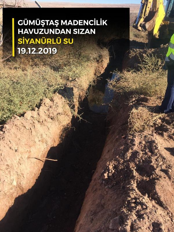Tepeköy köyündeki altın madeninin atık havusundan sızan siyanürlü su