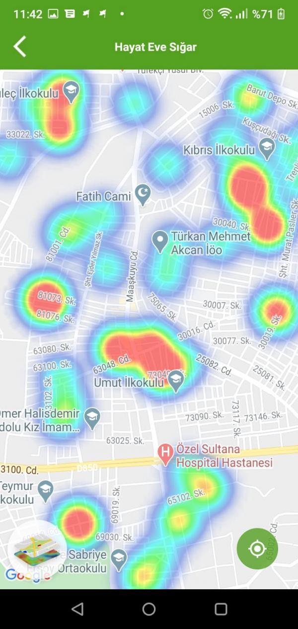 Antep'te virüs vakalarının yoğun olduğu bölgeleri gösteriyor
