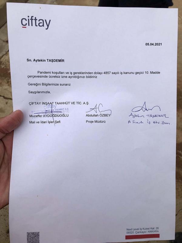 Çiftay tarafındanAytekin Taşdemir'e gönderilen ücretsiz izin belgesi