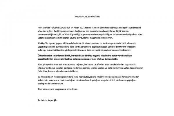 Metin Kaşıkoğlu'nun Twitter paylaşımını silmesinin ardından yayımladığı açıklama