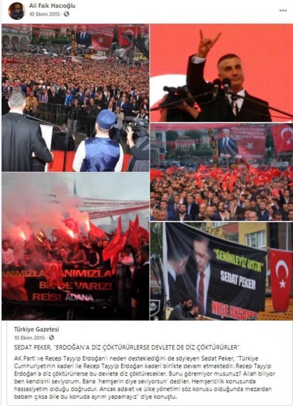 Süleyman Soylu'nun danışmanı Ali Faik Hacıoğlu'nun Sedat Peker paylaşımı