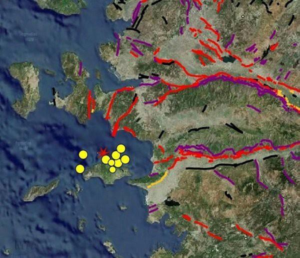 Fay hatlarını gösteren harita
