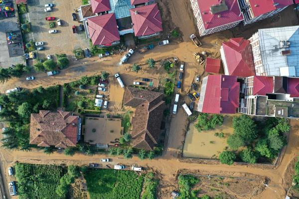 Rize'de yaşanan sel felaketininin gökyüzünden görüntüsü