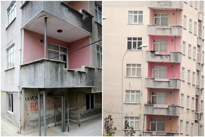 Rize'de eğimli binalara demir direkli 'önlem'