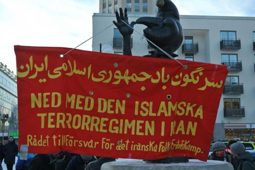 Stockholm'de İran emekçileriyle dayanışma eylemi