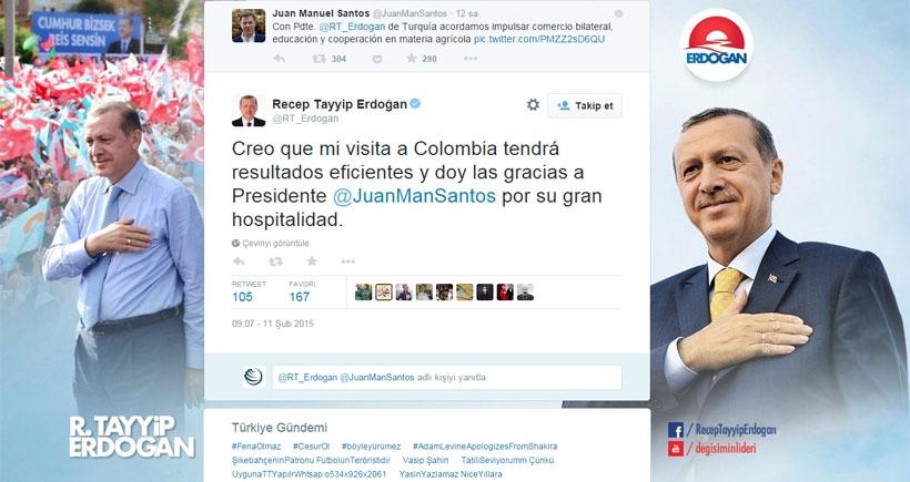 Erdoğan, İspanyolca tweet attı