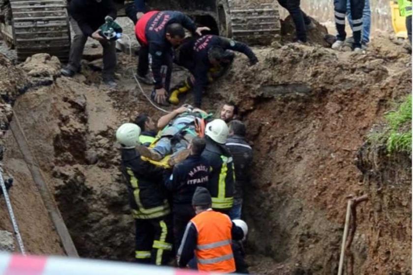 Göçük altında kalan işçi ağır yaralandı