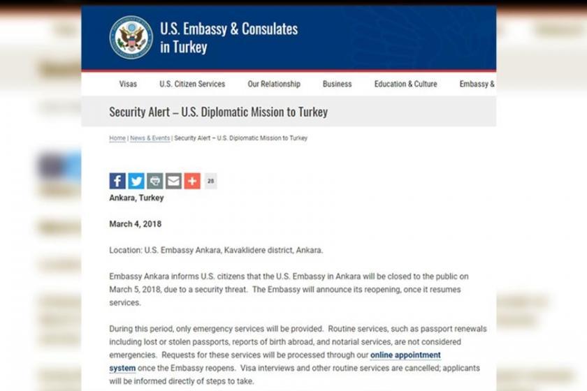 Ankara'daki ABD Büyükelçiliği'ne güvenlik uyarısı