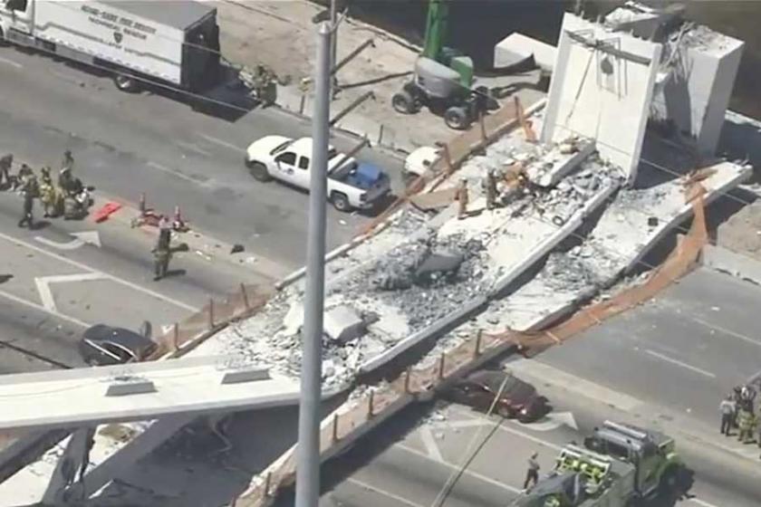 Miami'de yaya üst geçidi çöktü: En az 4 ölü