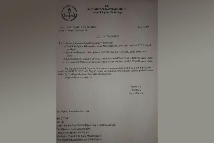 Okullarda yapılmak istenen 1 Mayıs konulu yarışma iptal edildi